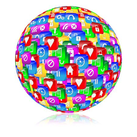 Abstract sphere consisting of different icons for designers for vaus necessities  Stock Photo - 17309464