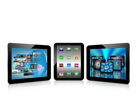 Abstraction which shows tablets and multiple images for designers for various necessities