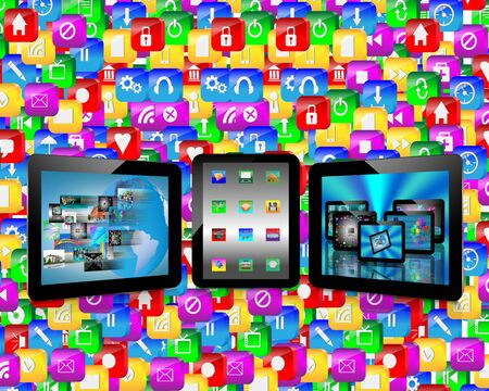 Abstraction which shows tablets and multiple images for designers for various necessities  photo