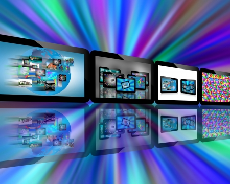 Abstraction which depicts several tablets with different images for designers for various necessities Stock Photo - 17432961