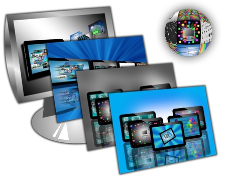 downloading content: Computer abstraction consisting of a monitor, and areas of multiple images of tablets for designers for various necessities  Stock Photo
