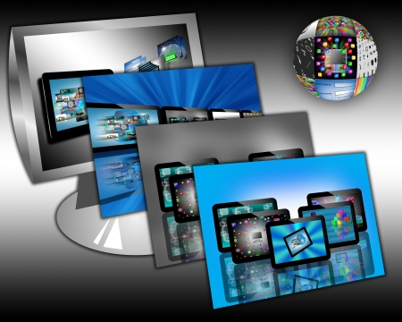 Computer abstraction consisting of a monitor, and areas of multiple images of tablets for designers for various necessities  Stock Photo