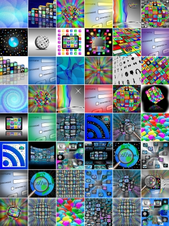 downloading content: Abstraction of forty-eight different images on the Internet for designers for different needs  Stock Photo