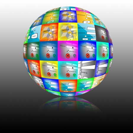 Abstract sphere consisting of different pictures for the web designers for various necessities  photo