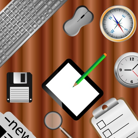 Abstract composition which shows the various items on a wooden table for various needs Stock Photo - 18251691