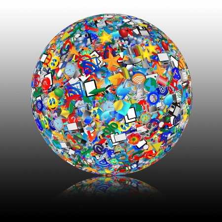Abstract sphere consisting of different icons for designers for various necessities Stock Photo - 18347657