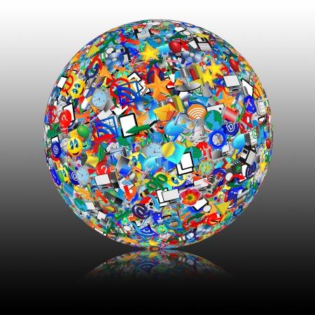 Esfera abstracta que consiste en diferentes iconos para diseñadores de diversas necesidades Foto de archivo - 18347657