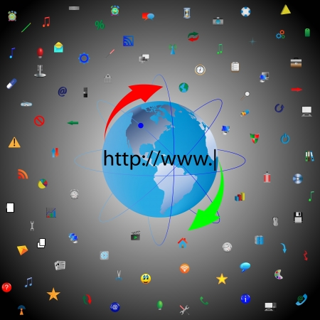 The model of the planet earth surrounded by numerous color icons for designers for various necessities  Stock Vector - 18347653