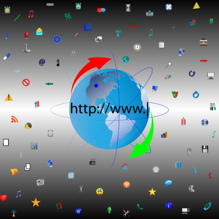 The model of the planet earth surrounded by numerous color icons for designers for various necessities  Stock Vector - 18347652