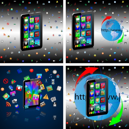Image regular tablet surrounded by a variety of colored icons for web designers for vaus necessities  Stock Photo - 18347679