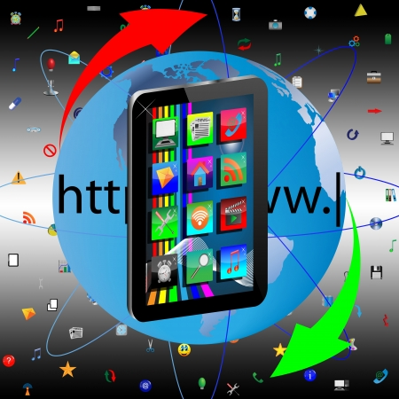 Image regular tablet surrounded by a variety of colored icons for web designers for various necessities  photo