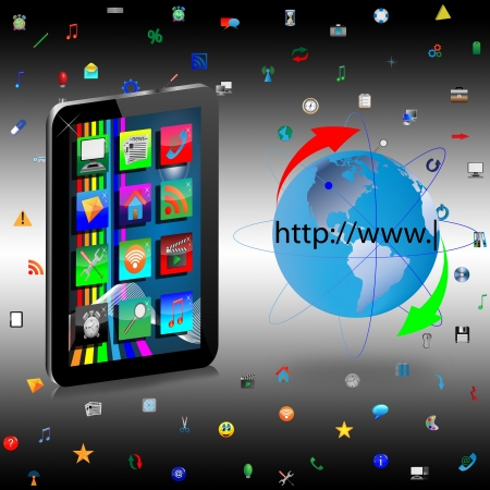 Image regular tablet with icons on the screen and the planet Earth to designers for various necessities  photo