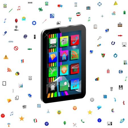 Image regular tablet surrounded by a variety of colored icons for web designers for various necessities  Stock Photo - 18347666