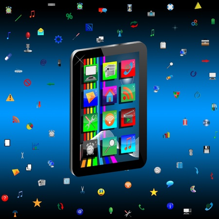 Image regular tablet surrounded by a variety of colored icons for web designers for various necessities Stock Photo - 18347655