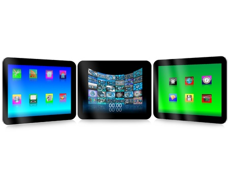 Tablets with colored web icons on the displays for designers for vaus necessities  Stock Photo - 18443740