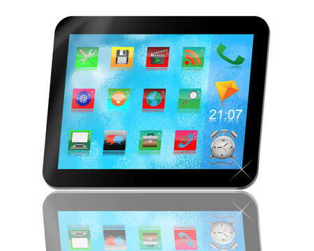 necessities: Abstract tablet with colored icons for designers for various necessities.