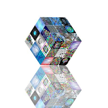 Resumen cubo 3D que consiste en imágenes de la web para los diseñadores para necesidades diferentes sobre un fondo blanco Foto de archivo - 18651786