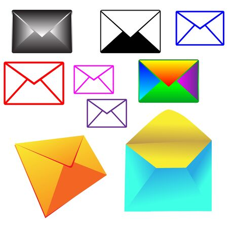 A set of colored envelopes for web designers for various necessities and projects Stock Vector - 18756108