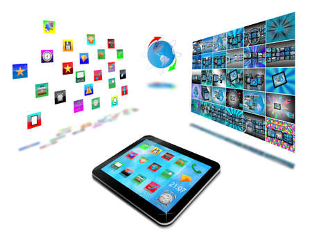 necessities: Abstract tablet with colored icons for designers for various necessities  Stock Photo