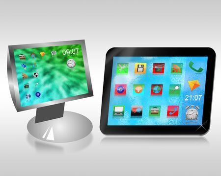 Monitor and tablet with desktop icons on a gray background for designers for various necessities Stock Photo - 18846485