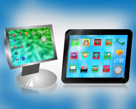 Monitor and tablet with desktop icons on a blue background for designers for vaus necessities  Stock Photo - 18846489