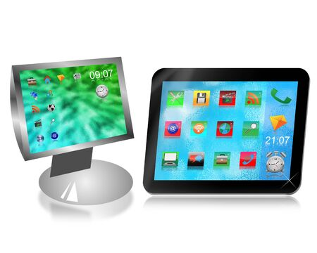 Monitor and tablet with desktop icons on a white background for designers for various necessities  photo