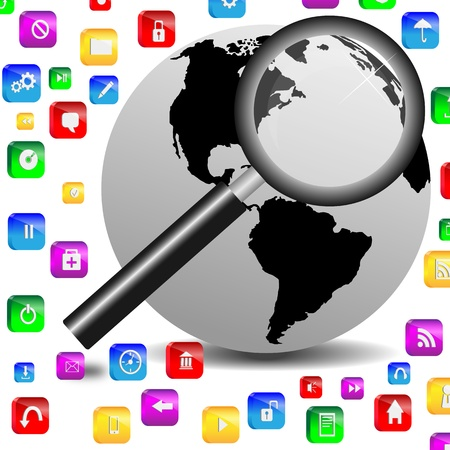 3D abstraction on MDM shows planet earth and magnifying glass for designers for various necessities Stock Photo - 18846479