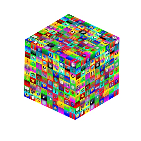 Abstract composition which shows a cube with different colored icons on the faces on a white background  photo