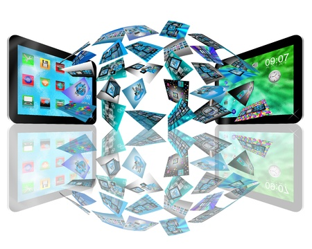 Abstraction consisting of two tablets convey different information to each other