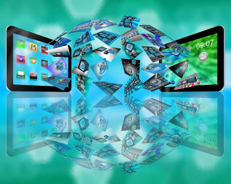 downloading content: Abstraction consisting of two tablets convey different information to each other