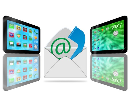 convey: Abstraction consisting of two tablets convey different information to each other