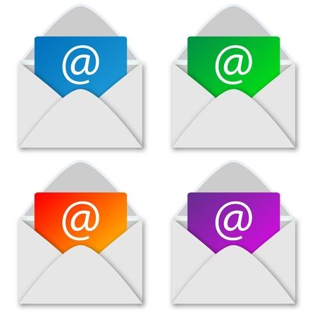 Eine Auswahl von vier weißen Umschlägen mit einem Buchstaben in für Designer für verschiedene Notwendigkeiten Illustration