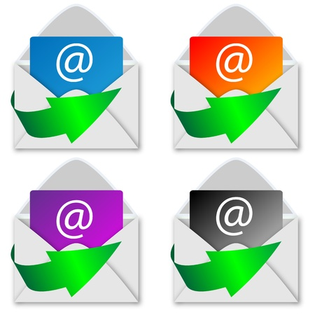 A selection of four white envelopes with a letter inside for designers for vaus necessities  Stock Vector - 19027159