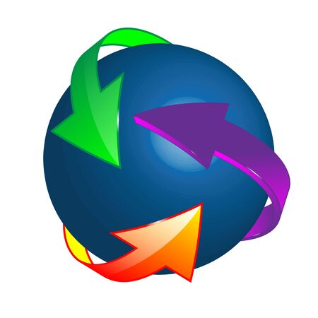 Computer abstraction which shows 3D ball surrounded by the colored arrows on a white background for designers for various necessities  photo