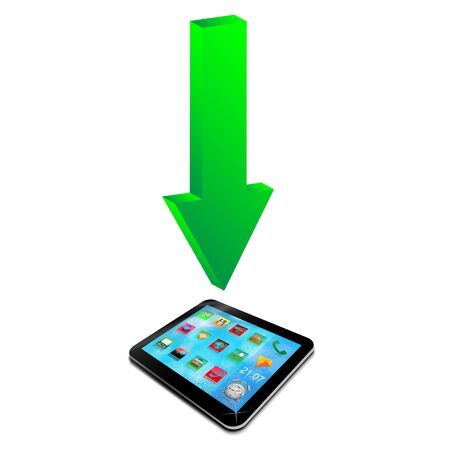 Abstraction which shows a green arrow and a tablet on a white background for designers for various necessities