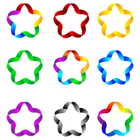 Set of web elements as stars of colored ribbons for designers for various necessities  Vector