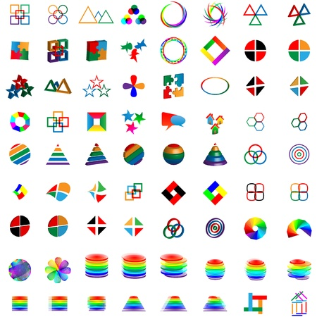 Mega collection of different colored abstract logos for designers for various necessities  Vector