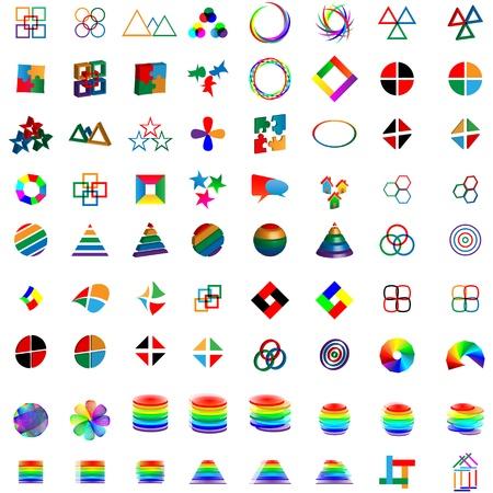 Mega Sammlung von verschiedenen farbigen abstrakten Logos für Designer für verschiedene Notwendigkeiten