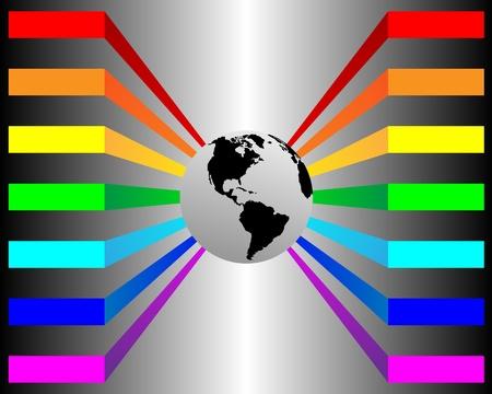 Résumé bannière avec l'image de la planète Terre et les lignes multicolores pour les concepteurs pour diverses nécessités Banque d'images - 19331555