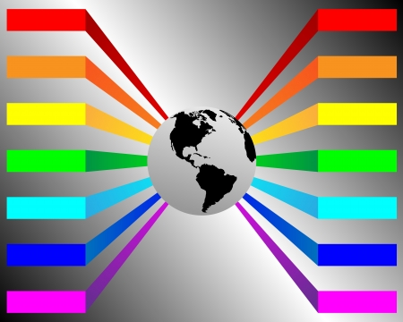 dominance: Abstract banner with the image of planet the Earth and the multi-colored lines for designers for various necessities  Illustration