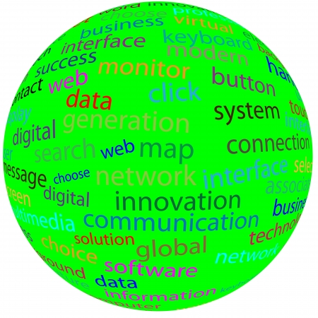 necessities: Abstract sphere with different words for designers for various necessities  Stock Photo