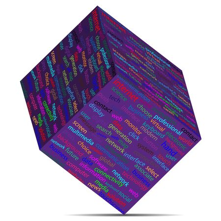 tcp: Cube with different words on the faces of designers for various necessities