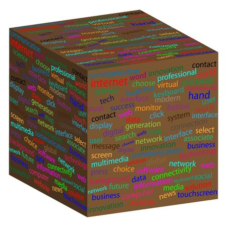 compliant: Cube with different words on the faces of designers for various necessities
