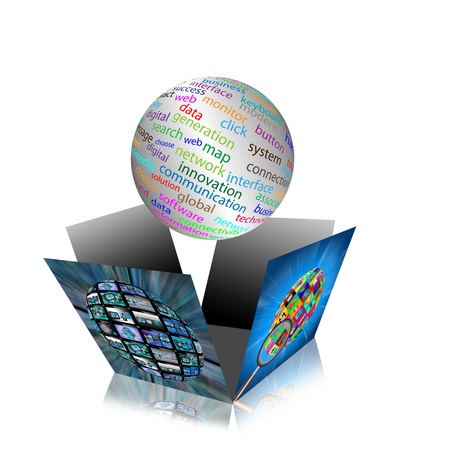 product development: Computer abstraction with the image of the broken boxes and spheres with different words  Stock Photo