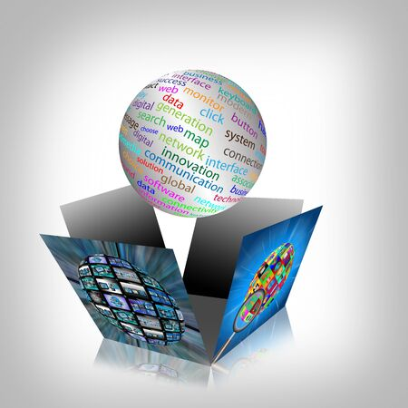 Computer abstraction with the image of the broken boxes and spheres with different words  Stock Photo - 19622756