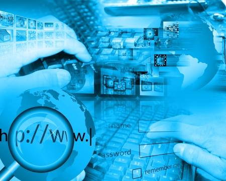 Fotografie, die eine Collage aus der Tastatur gemacht und die menschliche Hand zu Designern für verschiedene Notwendigkeiten zeigt