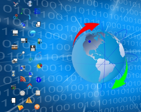 Abstrakter Hintergrund in Form von Bin?rcode in den Hintergrund des Planeten Erde und Web-Icons