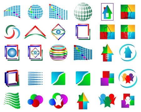 Mega Sammlung von verschiedenen farbigen abstrakten Logos f?r Designer f?r verschiedene Notwendigkeiten Illustration