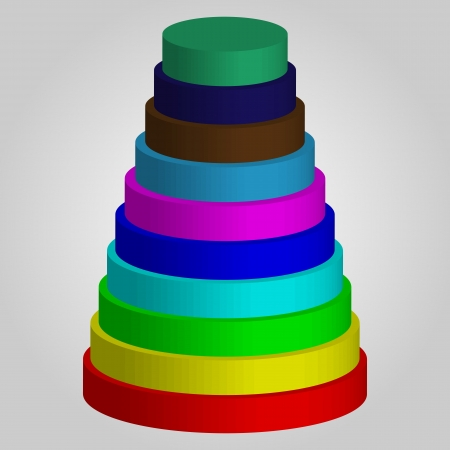 3D chart in the form of colored pyramid on a gray background for designers for various necessities