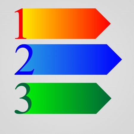 Three color numbers 1, 2, 3, and three arrows to designers for various necessities  Vector